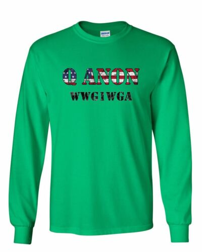 Q ANON WWG1WGA Long Sleeve T-Shirt Patriotic Stars And Stripes Deep State Tee