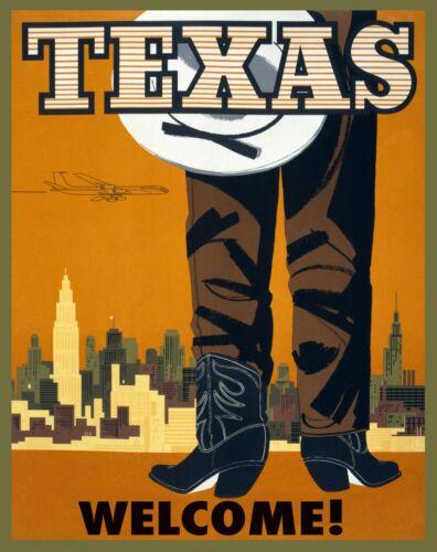 Western Art 1960 TEXAS VINTAGE TRAVEL POSTER Cowboy boots