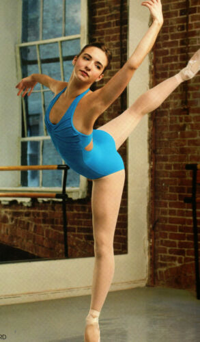 NWT HALTER LEOTARD PLEATED Synergy FRONT SMOKE ADULT Capezio 10190 DANCE BALLET