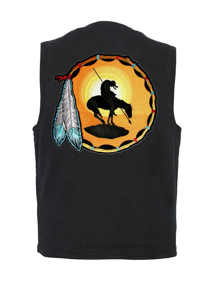 Herren Conceal Carry Denim Vest W  End Of The Trail Native Indian Patch