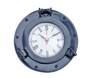 """Ship/'s Porthole Clock Chrome Finish 8/"""" Aluminum Nautical Hanging Wall Decor New"""