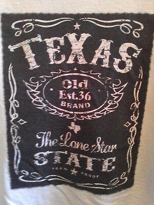 L white USED T Shirt TEXAS Lone Star State JACK DANIELS LOGO STYLE Austin B&W