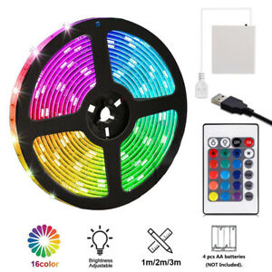 1 5m Usb Led Strip Lights Battery Operated Controller Color Change Home Decor Ebay