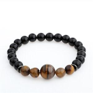 Hot-Handmade-Men-039-s-8MM-Black-Agate-Tiger-Eyes-Beaded-Charms-Bracelet-For-Gifts
