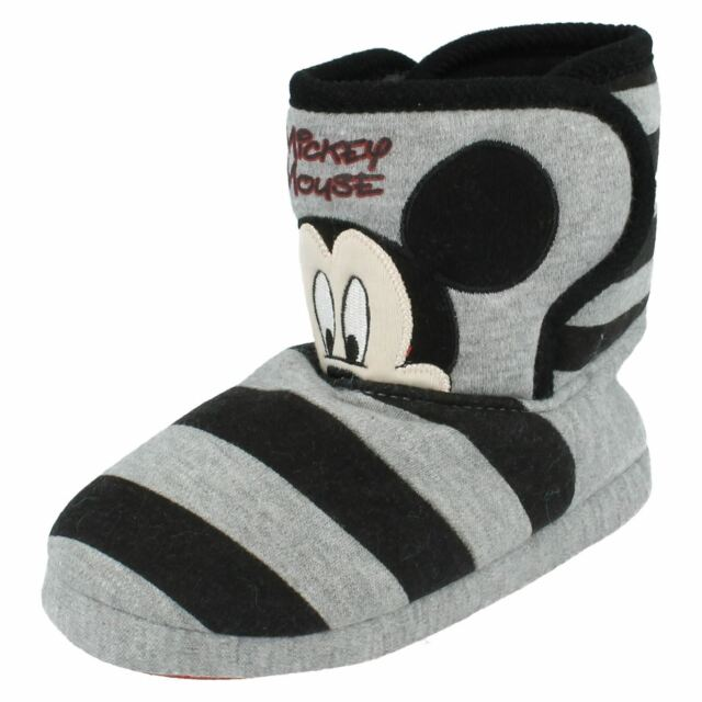 1ad01bc4e6f4 Childs Disney Mickey Mouse Bootee SLIPPER in Grey black Style ...