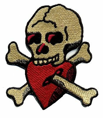Bright Tattoo Aufnäher Totenkopf Mit Herzen Alte Schule Traditionell Retro Rockabilly Low Price