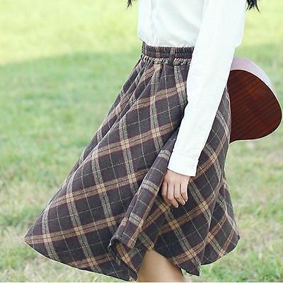 Vintage Women's Winter Wool Blend Checks Plaids Pleated Pocket A-Line Midi Skirt