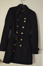Retail $1995 + $200tax Burberry Blue Wool Queens Crown TrenchCoat in Navy USA 6