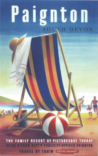 Vintage British Rail Paignton Devon Railway Poster A4//A3//A2//A1 Print