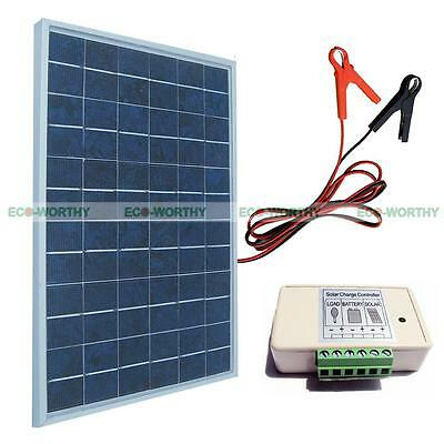 10Watt PV Solar Panel Bundle Kit 12V Battery Charge W/ Controller & Battery Clip