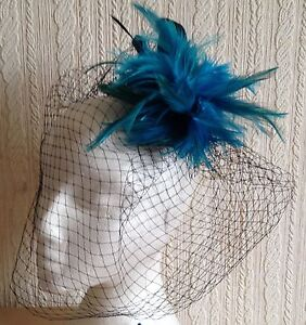 turquoise-feather-black-veiling-fascinator-millinery-hair-clip-wedding-bridal