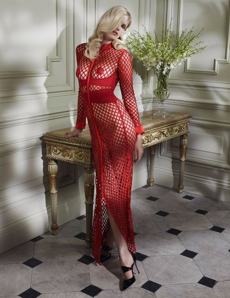 Agent Provocateur Red Fishnet Bubbles Soiree Jasmyna Dress - Size AP 2   Small