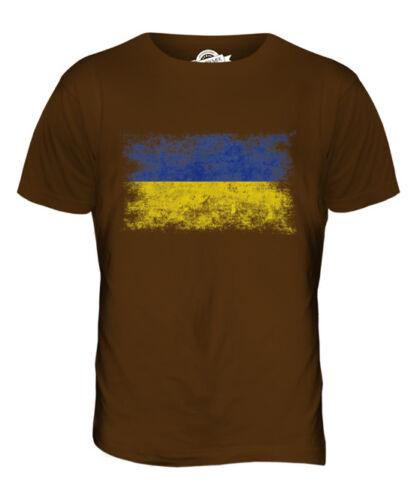 UKRAINE DISTRESSED FLAG MENS T-SHIRT TOP UKRA?NA FOOTBALL UKRAINIAN GIFT SHIRT