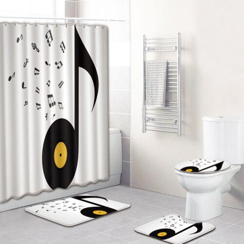 Art Musical Notes Waterproof Fabric Bathroom Shower Curtain Set Bath Mats Rugs