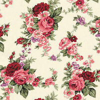Canvas Heavy Cotton Upholstery Craft Curtain Fabric Antique Floral Rose Pink 44'