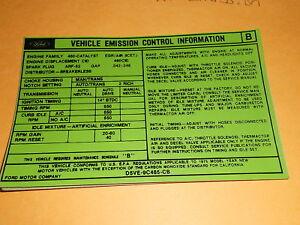 1976 FORD TORINO RANCHERO 460 4V ENGINE EMISSIONS DECAL