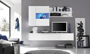 Dettagli su Parete Attrezzata Primo 16 Bianco Mobile Porta TV da Soggiorno  Moderno Laccato