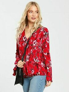 V-by-Very-Waffle-Flared-Sleeve-Wrap-Top-Pink-Print-Various-Sizes