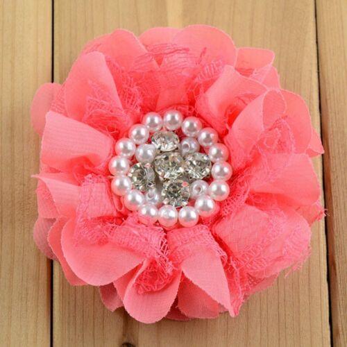 DENTELLE SHABBY Mousseline Fleur strass perles pour serre-tête Cheveux Accessoire 20pcs