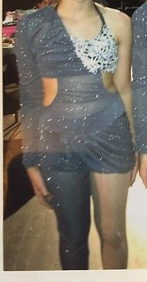 Teen Girls Acro Dance Costume One Arm One Leg Silver Gray Kelle K2T1