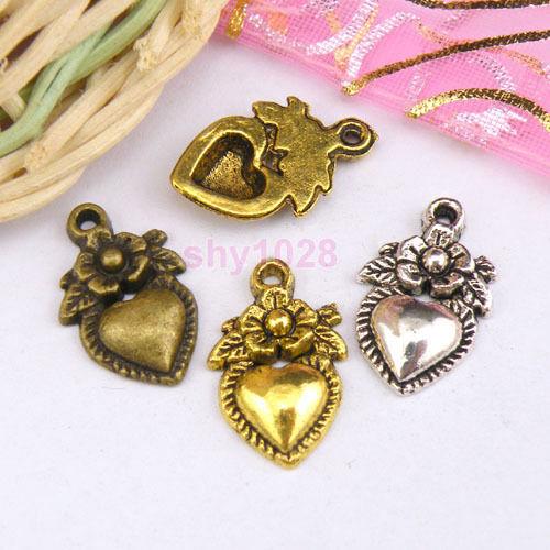 10Pcs Tibetan Silver,Gold,Bronze Flower Heart Charm Pendant 11.5x18.5mm M1109
