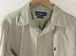 Men-039-s-Ralph-Lauren-Blake-Long-Sleeve-Button-Down-Tan-Khaki-Shirt-Size-L