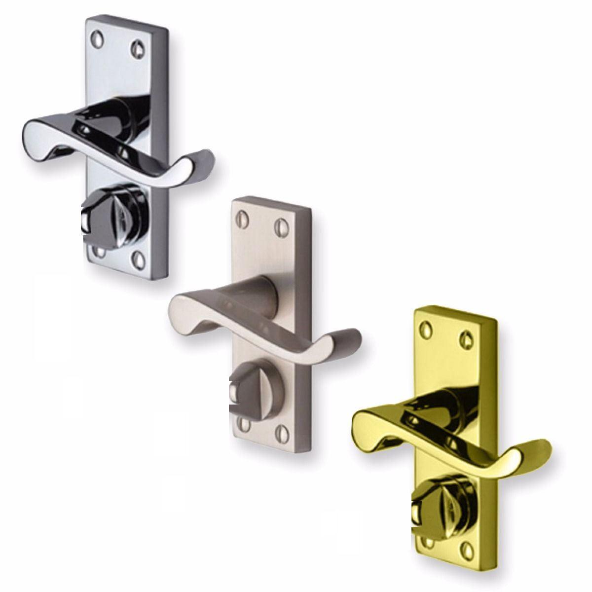 CHROME Finish D12 Privacy Lock PAIR of Bathroom//WC Lever LOCK Door Handle