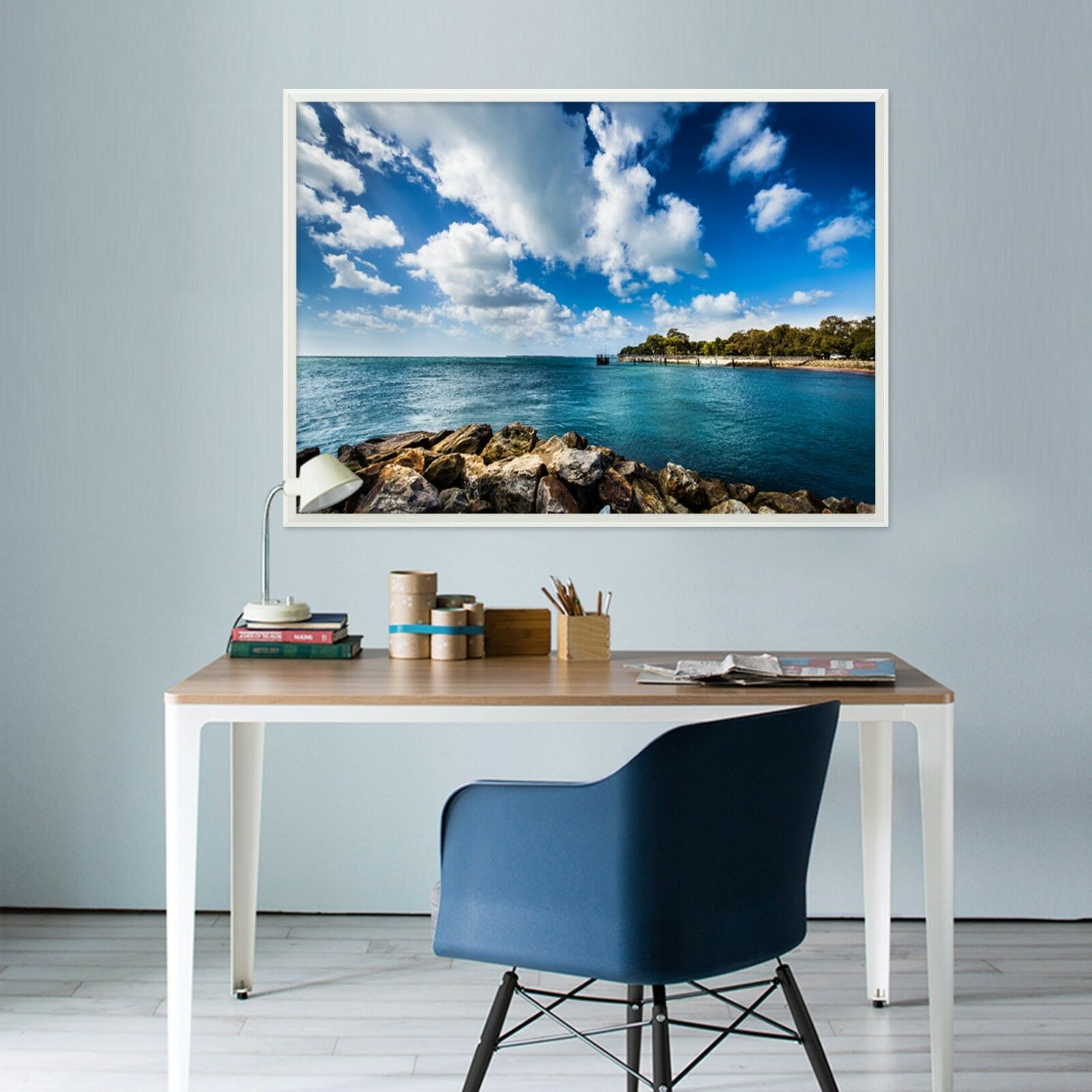 3D Clouds Sea Beach 2 Framed Poster Home Decor Print Painting Art AJ WALLPAPER
