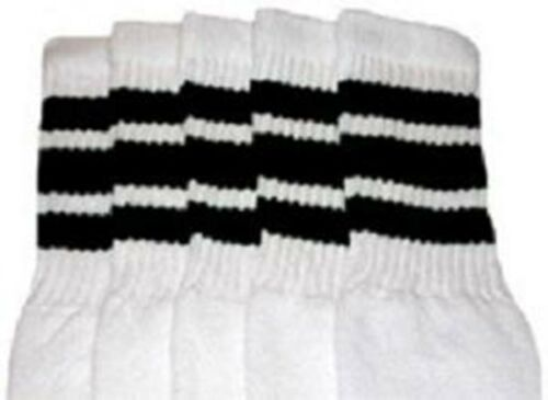 "10-1 10"" KIDS WHITE tube socks with BLACK stripes style 1"