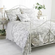 ETOILLE GREY DOUBLE 240X260CM 100% COTTON QUILTED REVERSIBLE BEDSPREAD THROW
