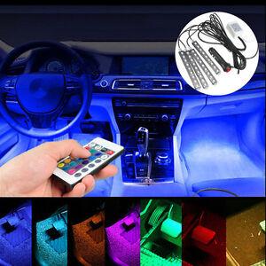 Control-Remoto-De-4-X-9-LED-Colorido-RGB-Tira-de-Luz-del-piso-ambiente-interior-del-coche