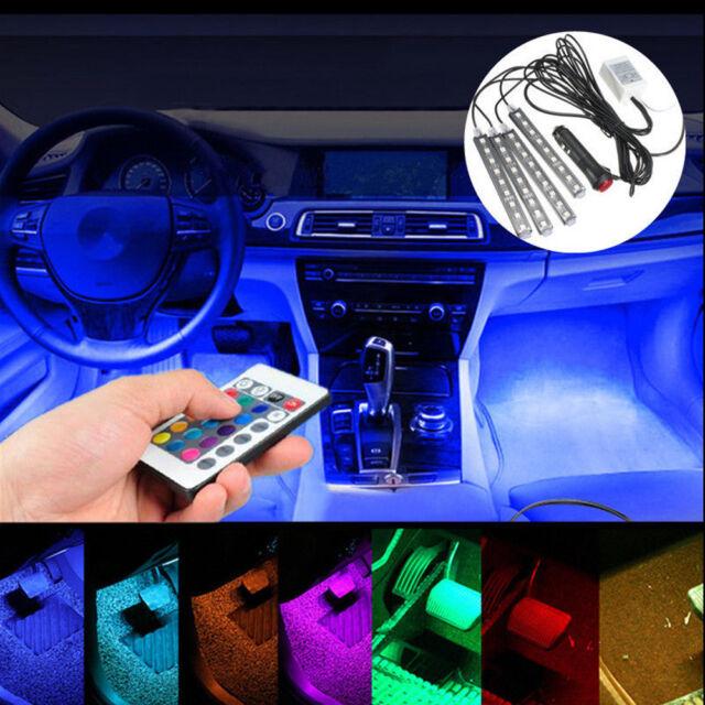4 x 9 LED Remote Control Colorful RGB Car Interior Floor Atmosphere Light Strip