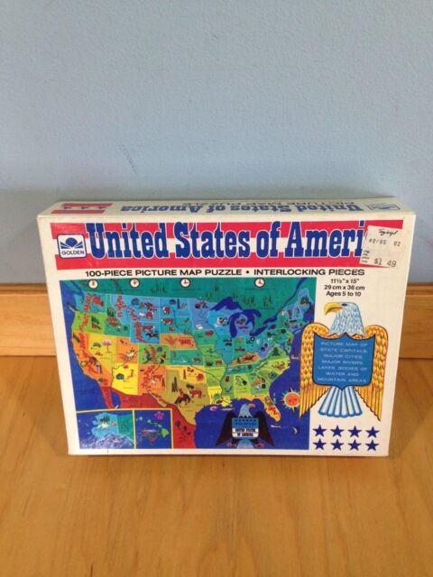 United States of America Picture Map puzzle 1965 Golden Made in USA vintage  *