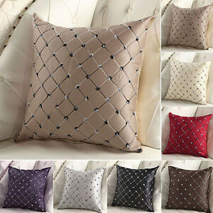 Square Luxury Diamond Scatter Cushion Cover Checked Pillow Case Sofa Home Decor