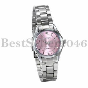 Women-Ladies-Pink-Dial-Dress-Watches-Waterproof-Steel-Band-Analog-Quartz-Watch
