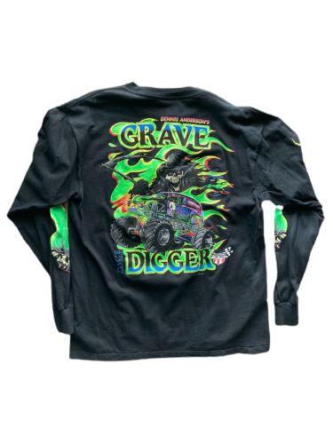 VTG Grave Digger Long Sleeve Shirt Size XL 90s Rar