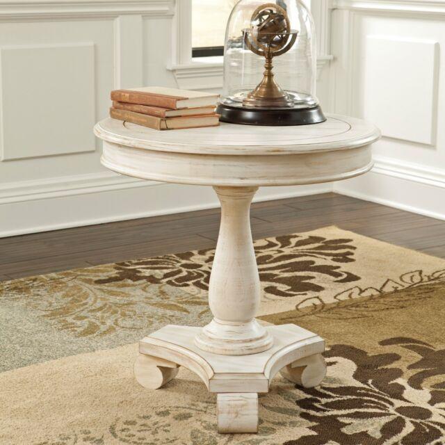 Round Pedestal Accent Table Distressed White Farmhouse Decor Foyer ...
