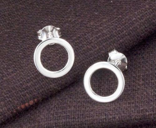 925 Sterling Silver Circle Boucles d/'oreille de 9 mm.