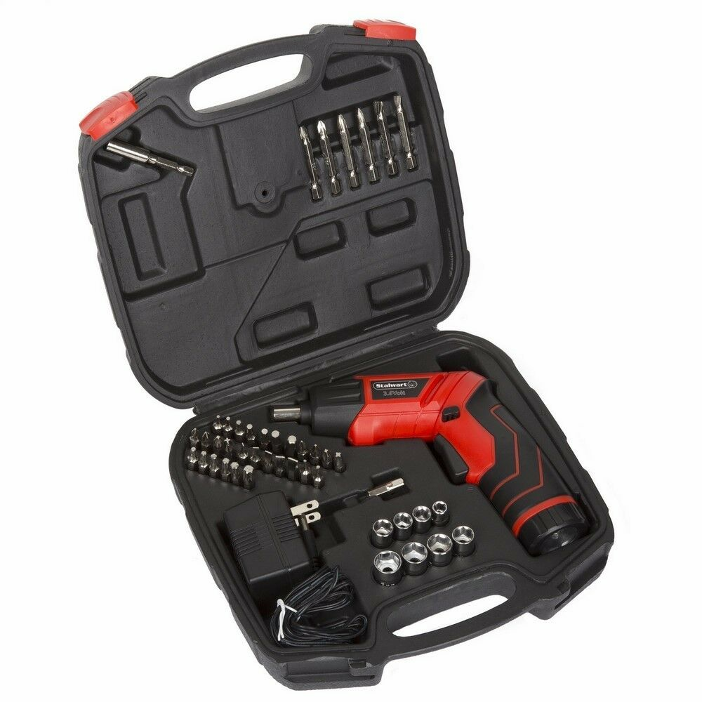 Pivoting Screwdriver 45 Pc. Set-Pivoting Cordless Power Tool With Rechargeable 3