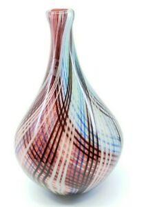 Vintage-Modernist-Murano-Style-Art-Glass-Vase-Checkered-Plaid-Colorful-12-034