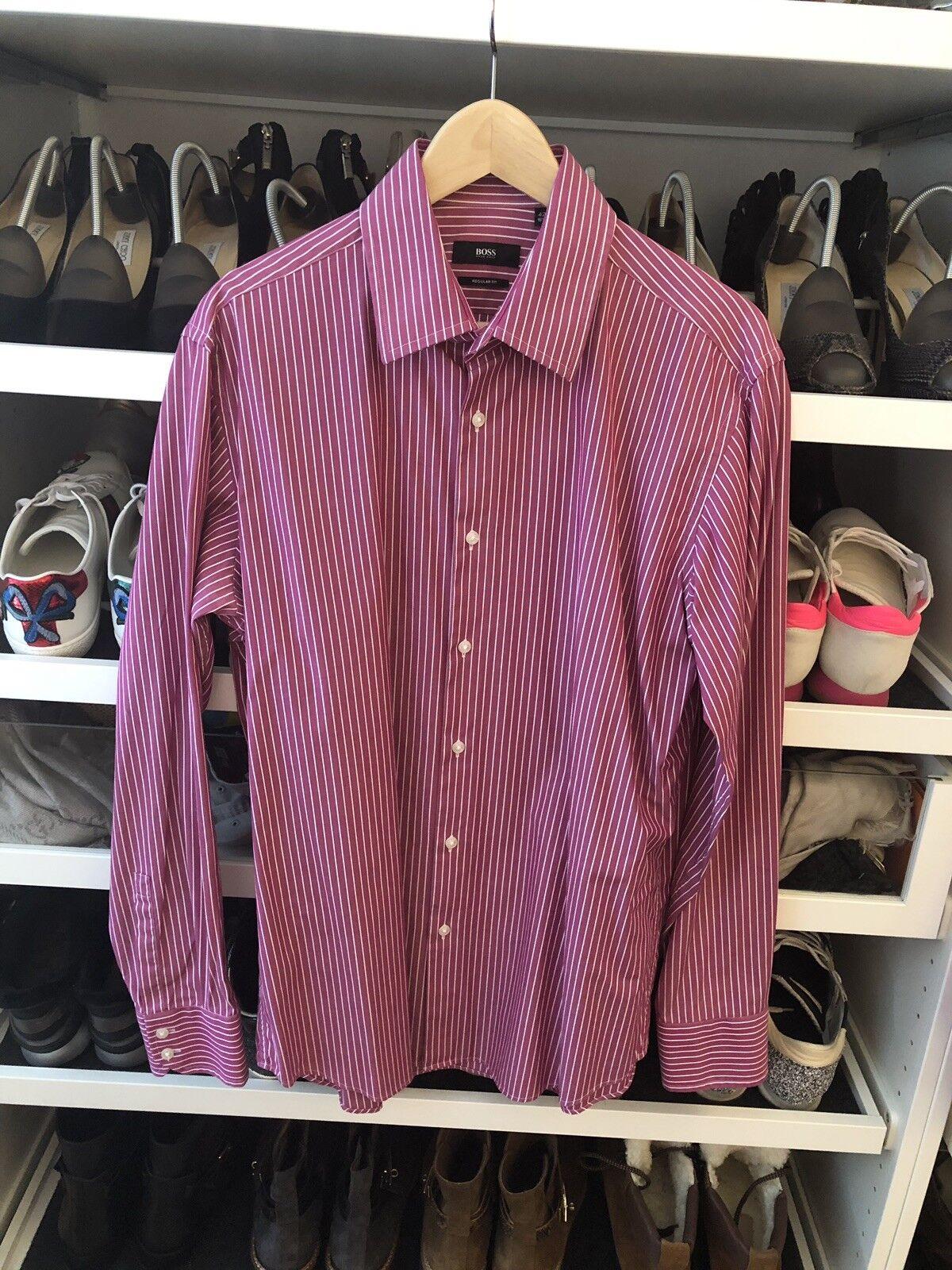 Hugo Boss Hemd regular fit gestreift beere Größe 42 NP    | Zarte  | Spielen Sie das Beste  | Sofortige Lieferung