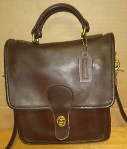 bcac7b9d89 Image is loading Coach-Vintage-Station-Brown-Leather-Flap-Crossbody-Bag-