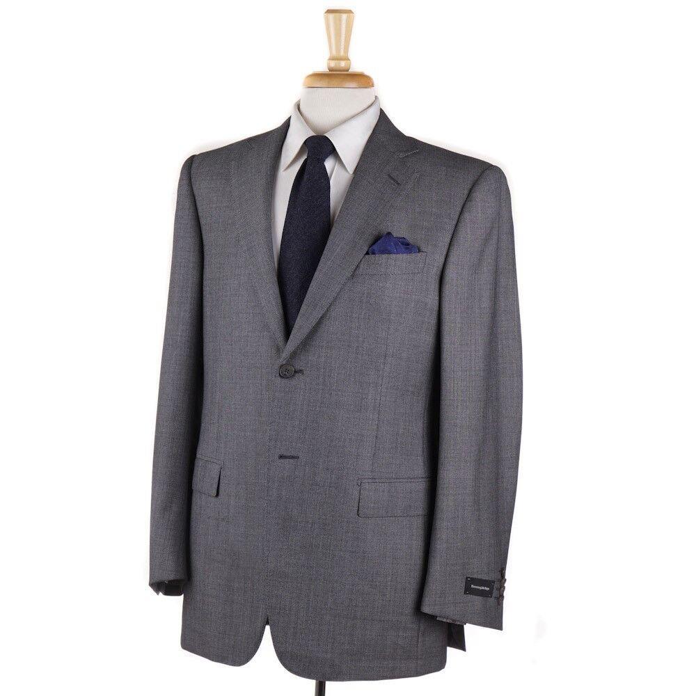 NWT 2995 ERMENEGILDO ZEGNA Woven grau Nailhead Wool Suit 40 R Classic-Fit