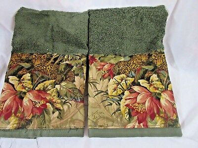 RALPH LAUREN Bold Blue Tapestry FabrIc //2 Custom Decorated Hand Towels
