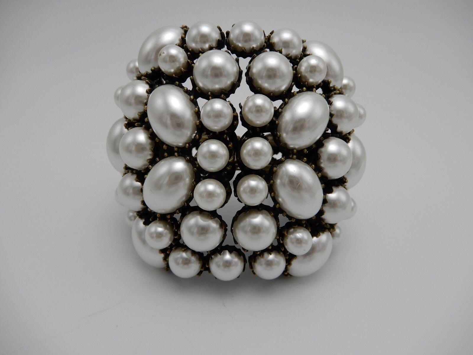 Faux Pearl Statement Cuff Clamp Bracelet