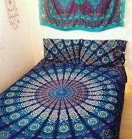 Peacock Mandala Tapestry Design Bedspread Queen Bedding Set Blue Indian Blanket