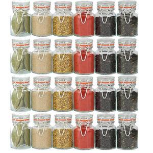Dettagli su 24x sigillo Clip Top Barattoli per spezie erbe essiccate Semi  Condimento vasi contenitori da cucina- mostra il titolo originale