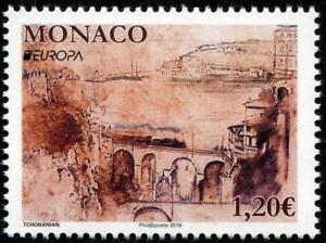 Ponts-Europa-MNH-Tampon-2018-Monaco-Minuscule-Train