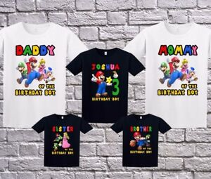 Super Mario Family Custom Birthday Shirt Personalized T-Shirt Name Age