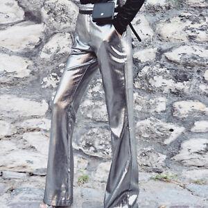 1c4147950a LE Women Wide Leg Pants Silver Bronzing Zipper High Waist Casual ...